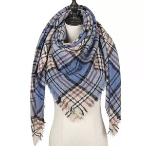 New Blue Plaid Triangle Blanket Cashmere Scarf
